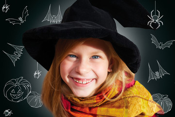 Halloween little girl looking at camera black background