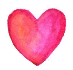 Pink heart in watercolor
