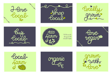 Badges, business cards for package, bag, concept, local promo, farmers market, shop, food store, design, business. Set. Buy local. Local Farm. Eco Farm. Vegan.