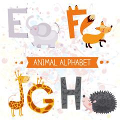 Cute kids animal alphabet E-H