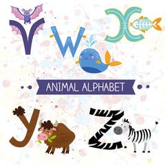 Cute kids animal alphabet V-Z
