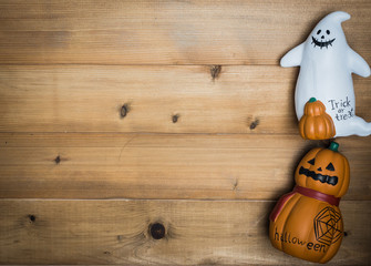 Halloween object concept wooden background
