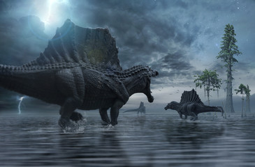 3D render of Spinosaurus group moving to a new hunting ground. Wall mural