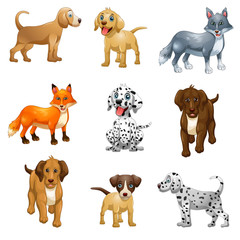 Set Cartoon funny dog isolated