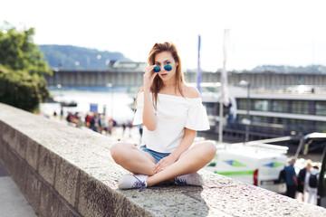 Girl posing in the city