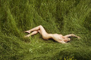 Nude elegant lady in a green sunny meadow