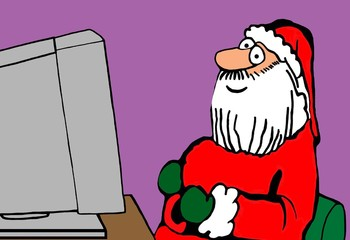 Color Christmas illustration showing Santa Claus sitting in front of a computer and smiling.