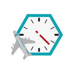 flat design wall clock and airplane  icon vector illustration