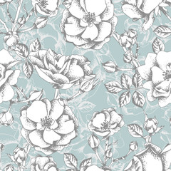 Sketched Roses Seamless Pattern on a Turquoise Background