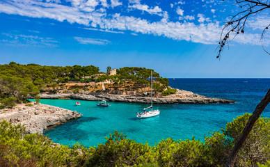 Idyllic Bay Mediterranean Sea Majorca Spain Cala Burgit Fotomurales