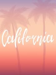 California poster. Hand drawn lettering california