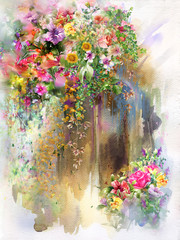 Abstract flowers on Wall watercolor painting. Spring multicolored flowers