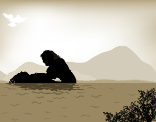 John the Baptist baptizes Jesus, vector illustration done with warm sepia tones.