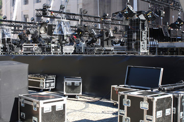 Stage lights on a console - preparing for concert.