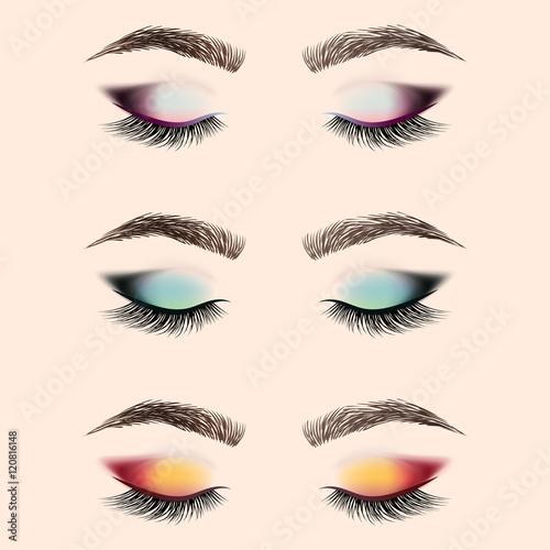 Set Of Vector And Eyebrows Set Black Vector Eyelashes Stock Vector 248010601 Set Of 9