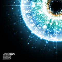 Blue eye explosion on black background