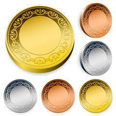 Ornate coin set in gold, silver and bronze with copy space