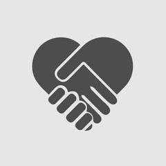 Hands shaking forming heart vector isolated icon. Handshake care love symbol.