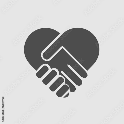 quothands shaking forming heart vector isolated icon