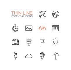 Travel Symbols - thick line design icons set
