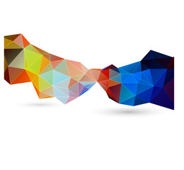 abstract colorful low poly strip on white background, vector illustration