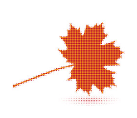 Maple leaf. Halftone pop art style. Vector