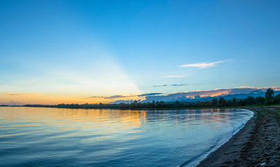 A quiet evening on the lake Issyk-Kul, Kyrgyzstan.