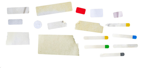 set of grungy adhesive stickers, price tags, isolated on white, free copy space