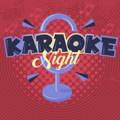 Karaoke Night. Vector Image.