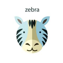 Line Animal Head Icon Set. Vector Illustration.Zebra