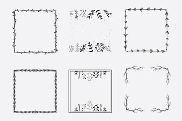 Hand drawn vector square floral frames for brand identity and logo design isolated on background and easy to use