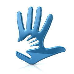 3d illustration of blue adult and kid hand