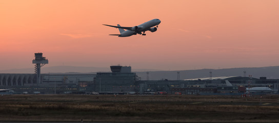 aircraft starting in the evening from an airport