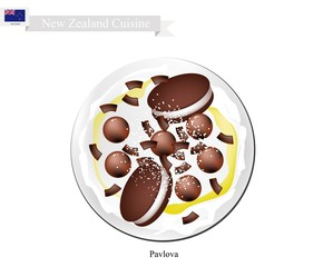 Chocolate Pavlova Meringue Cake, New Zealand Dessert