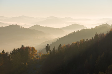 Mountain landscape on a sunny morning