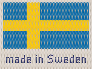 Swedish flag knitted pattern, made in Sweden. Modern vector ornament, wool knitted texture, banner of Sweden. Flat knitted standard, design element for sites. Hand made flag.