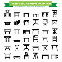 Vector furniture flat icons, table symbols. silhouette of different table - dinner, writing, dressing table. Desk pictograms, silhouette for furniture store, platen storage.