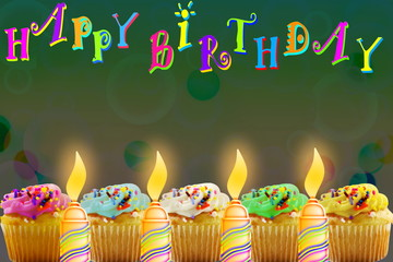 Birthday card photos royalty free images graphics vectors birthday greeting card with cupcake and candle m4hsunfo
