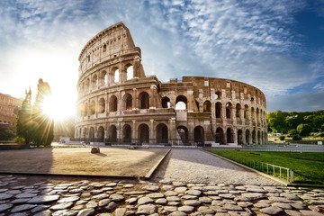 Fototapeten Rom Colosseum in Rome and morning sun, Italy