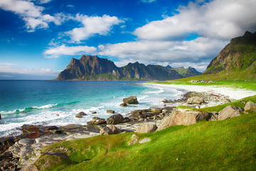 Foto op Aluminium Noord Europa Beautiful view to Eggum beach in Norway, Lofoten islands, Norway