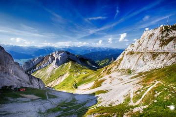 The world's steepest cogwheel railway on Pilatus mountain near Lucerne, Switzerland