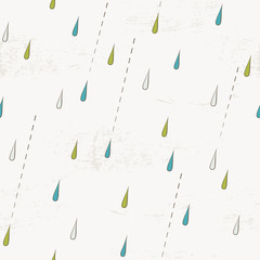 Seamless pattern with rain drops. Autumn rain background.