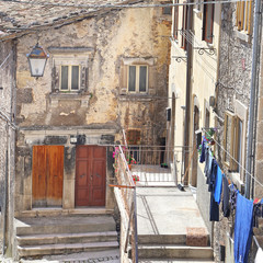 PESCOCOSTANZO, ITALY - AUGUST 21, 2016:  Glimpses of the wonderful mountain village - about 1400 m above sea level - Pescocostanzo in the region of Abruzzo, Italy