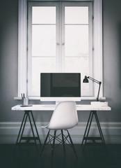 Vertical 3D render of computer on desk
