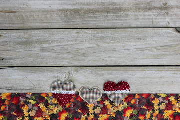 Blank sign with hearts and colorful leaves border