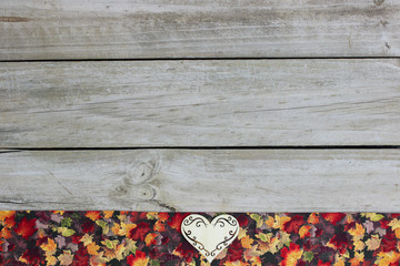 Blank sign with heart and colorful leaves border