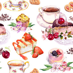Tea pattern - flowers, teacup, cakes, bird. Food watercolor. Seamless background