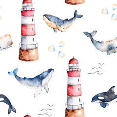 Seamless pattern with high quality handpainted watercolor whales,seashells and lighthouse in pastel colors.Perfect for your project,texture,blog,wallpaper,pattern,kids texture,gift paper, wrapping etc