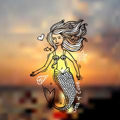 mermaid doodle style