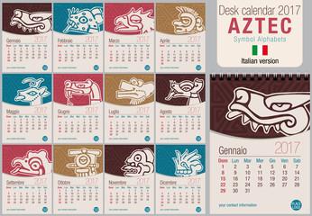 Desk triangle calendar 2017 template with Aztec symbols design. Size: 150mm x 210mm. Format vertical. Vector image. Italian version